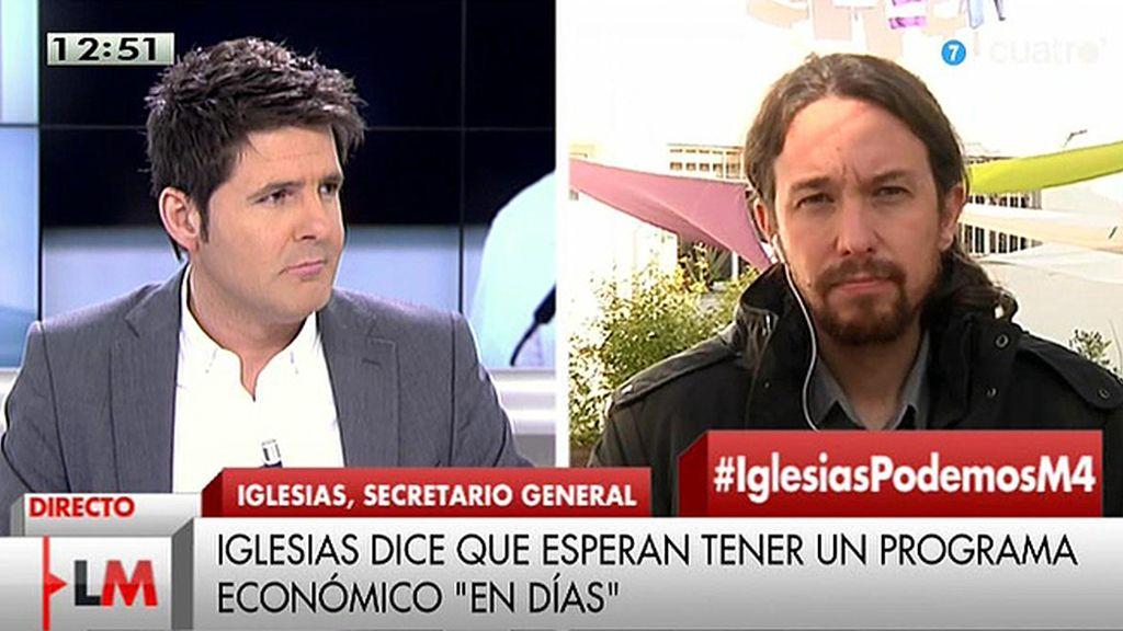 """Pablo Iglesias: """"Estamos discutiendo el borrador de medidas económicas"""""""