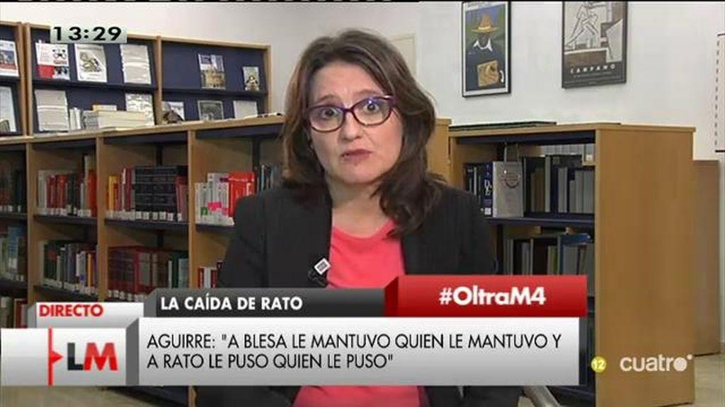 """Mónica Oltra: """"Ni Aguirre, ni Aznar, ni Rajoy, nadie se puede lavar las manos"""""""