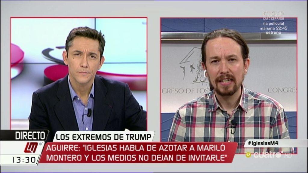 """Pablo Iglesias: """"Esperanza Aguirre es lo peor, que nos llame lo que quiera"""""""