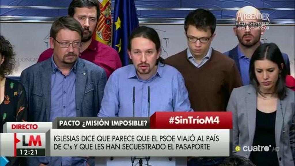 """Iglesias: """"Vemos a un PSOE secuestrado, sin el pasaporte para volver a las posiciones socialdemócratas"""""""