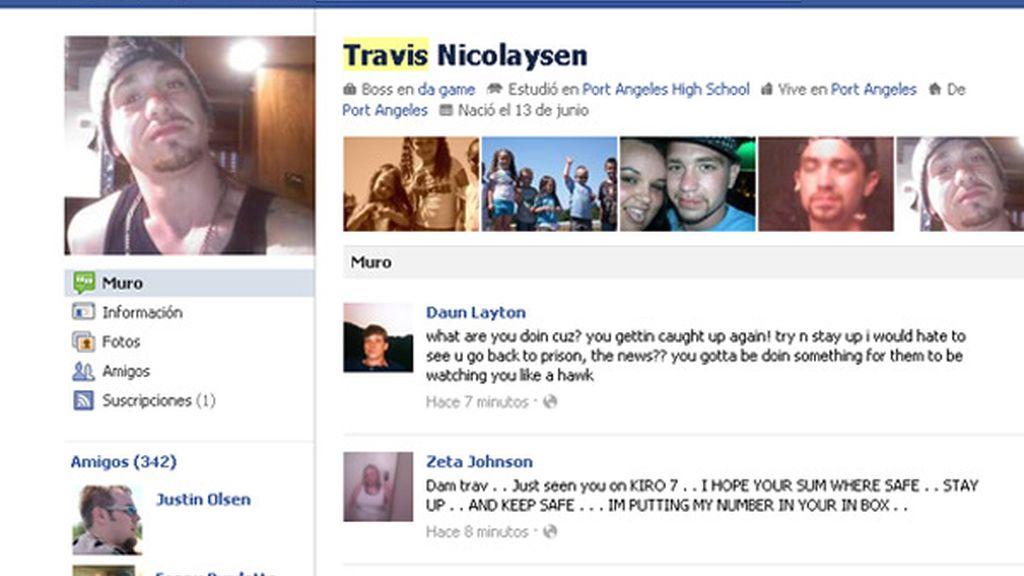 Travis A. Nicolaysen, delincuente, Facebook