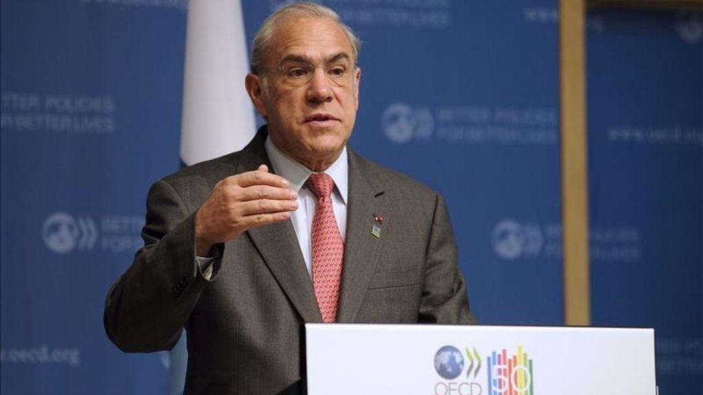 El secretario general de la la Organización para la Cooperación y el Desarrollo (OCDE), el mexicano Ángel Gurría, durante una rueda de prensa. EFE/Archivo