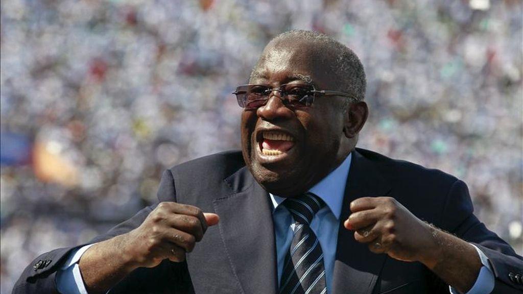 Fotografía de archivo del entonces presidente marfileño, Laurent Gbagbo, durante un mitin electoral en Abiyán (Costa de Marfil). EFE/Archivo