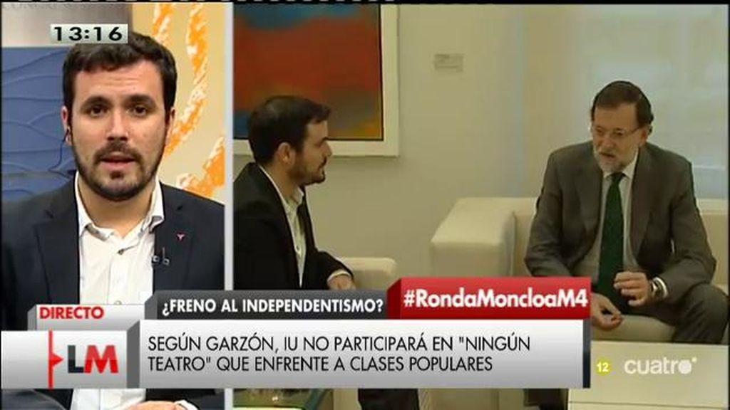 """A. Garzón, tras reunirse con Rajoy: """"No vamos a participar en ningún teatro que enfrente a las clases populares"""""""