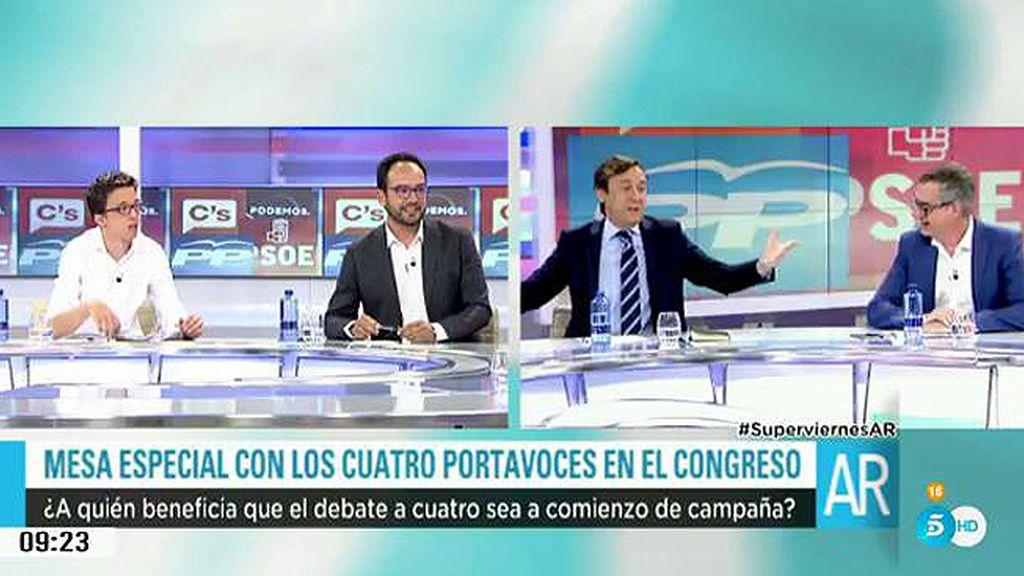 """Rafael Hernando, a Errejón: """"Es que a vosotros os gusta mucho la tele, Íñigo"""""""