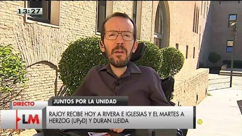 """P. Echenique: """"No queremos que Cataluña se vaya de España pero entendemos que salir con el lanzallamas no es la solución"""""""