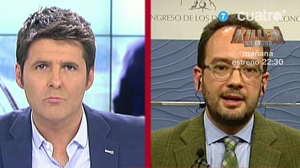 """Antonio Hernando: """"Cospedal dice que no pueden enviar a los corruptos a la cárcel, al menos no les saquen"""""""