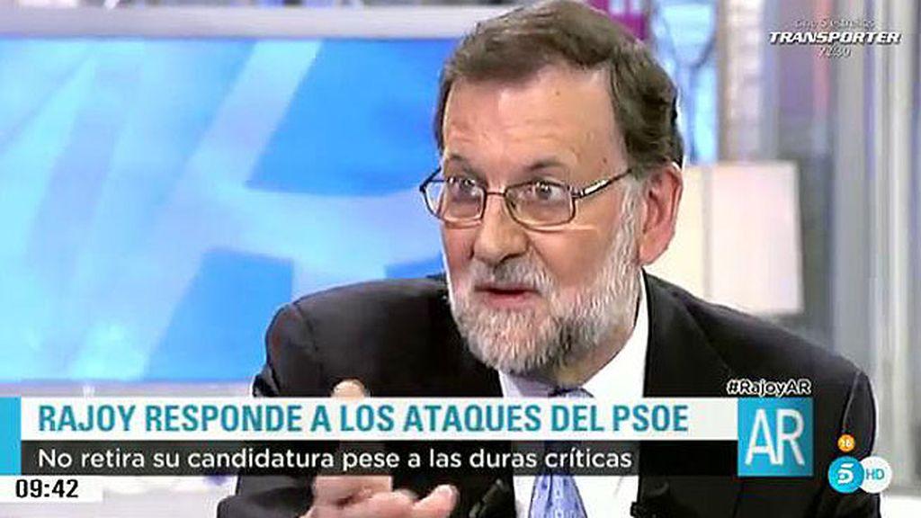 """Mariano Rajoy: """"Los socialistas están empeñados en que yo vaya a la investidura, que vayan ellos con Podemos"""""""