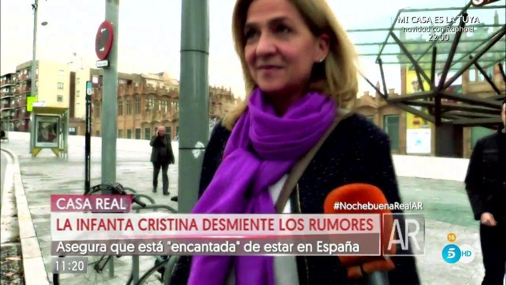 """La Infanta Cristina asegura estar """"encantada"""" de estar en España"""