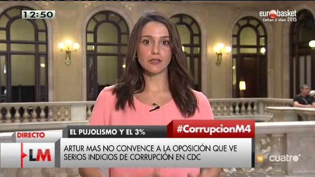 """I. Arrimadas: """"Pedimos a Mas que deje de utilizar la bandera catalana para intentar tapar todo esto"""""""