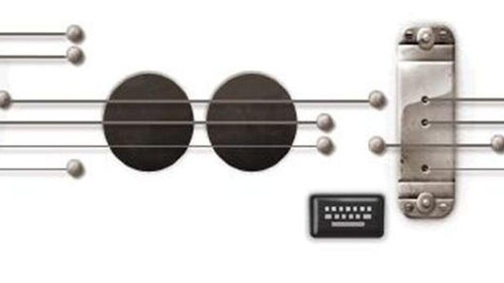 El doodle del buscador, una guitarra para rendir homenaje al músico estadounidense Les Paul. Foto Google.