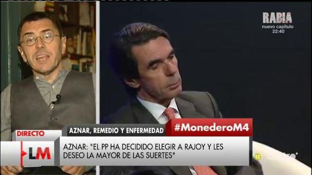 """Juan Carlos Monedero: """"Aznar va a lanzar una advertencia pública a Rajoy, 'ten cuidado que sé mucho de vosotros"""""""