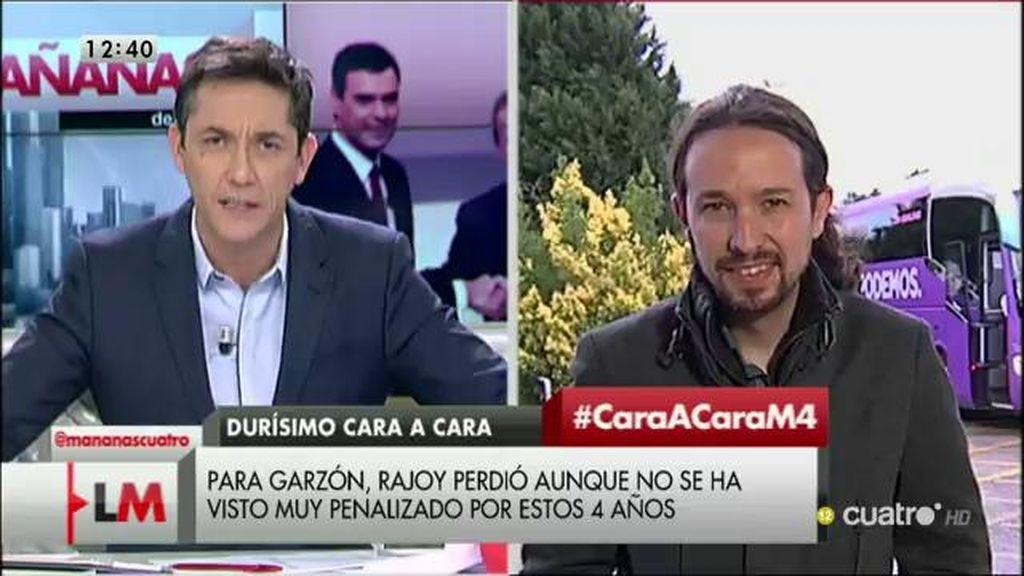 """Pablo Iglesias: """"Estamos aquí para ganar las elecciones al PP, no para insultarlos"""""""