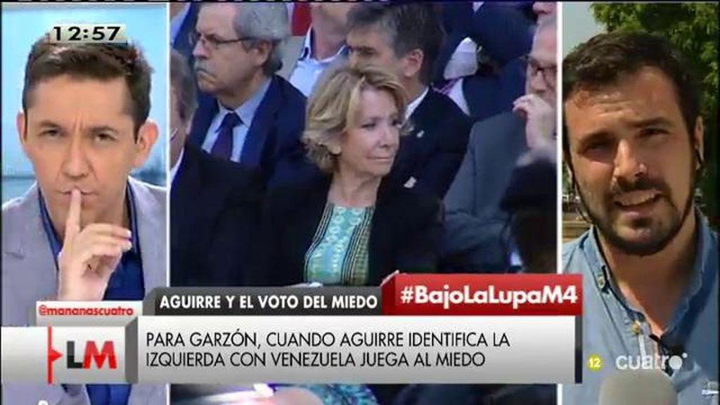 """A. Garzón: """"Lo único que intenta Aguirre es generar una política del miedo"""""""