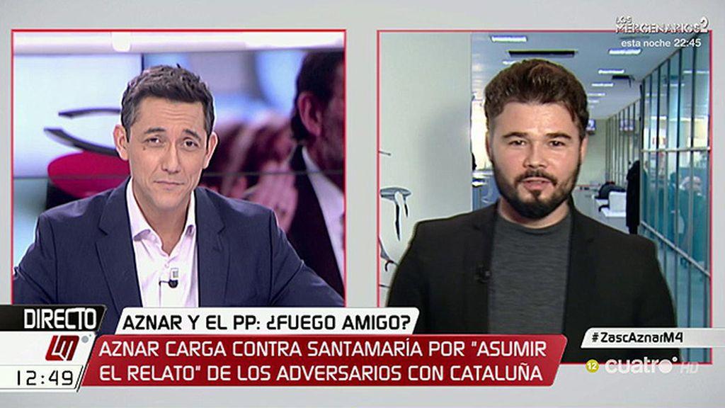 """Gabriel Rufián: """"Aznar es una especie de Voldemort del PP"""""""
