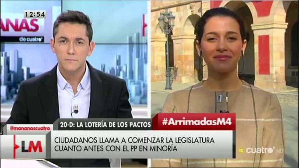 """Arrimadas cree que la abstención de PSOE y Ciudadanos para la investidura del gobierno es la opción """"menos mala"""""""