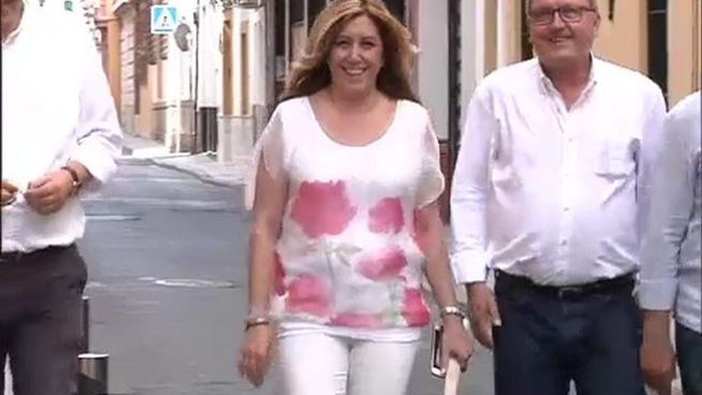 Susana Díaz llega a la sede de los socialistas andaluces para seguir en directo el escrutino