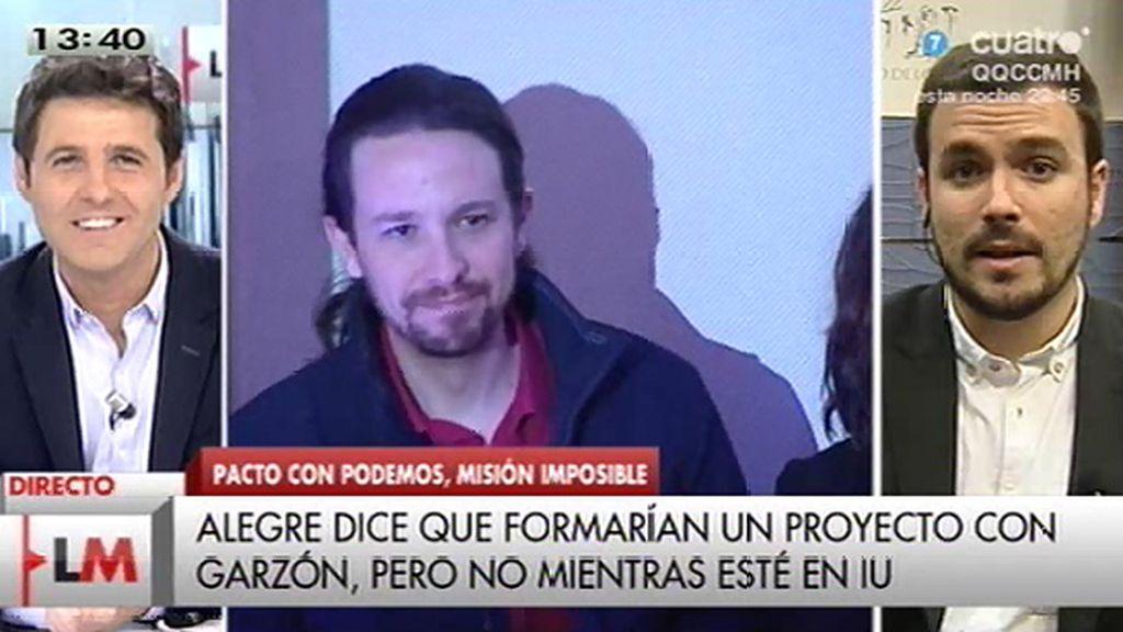 """A. Garzón no entraría en Podemos: """"La respuesta es clara y nítida: no, porque mi proyecto político es el de IU"""""""
