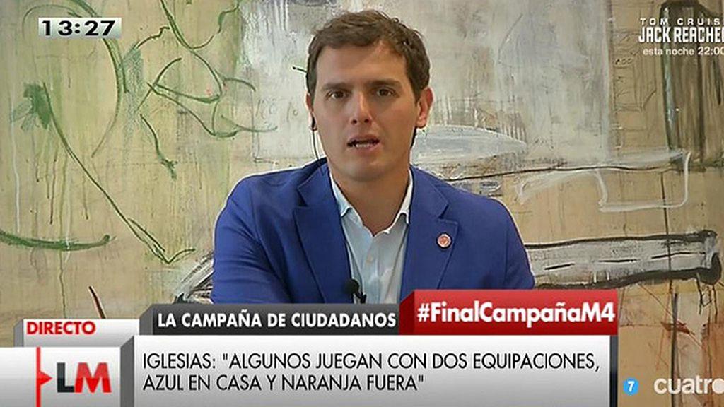 """Albert Rivera: """"Pablo Iglesias sabe de sobra que Ciudadanos no es una segunda equipación del Partido Popular"""""""