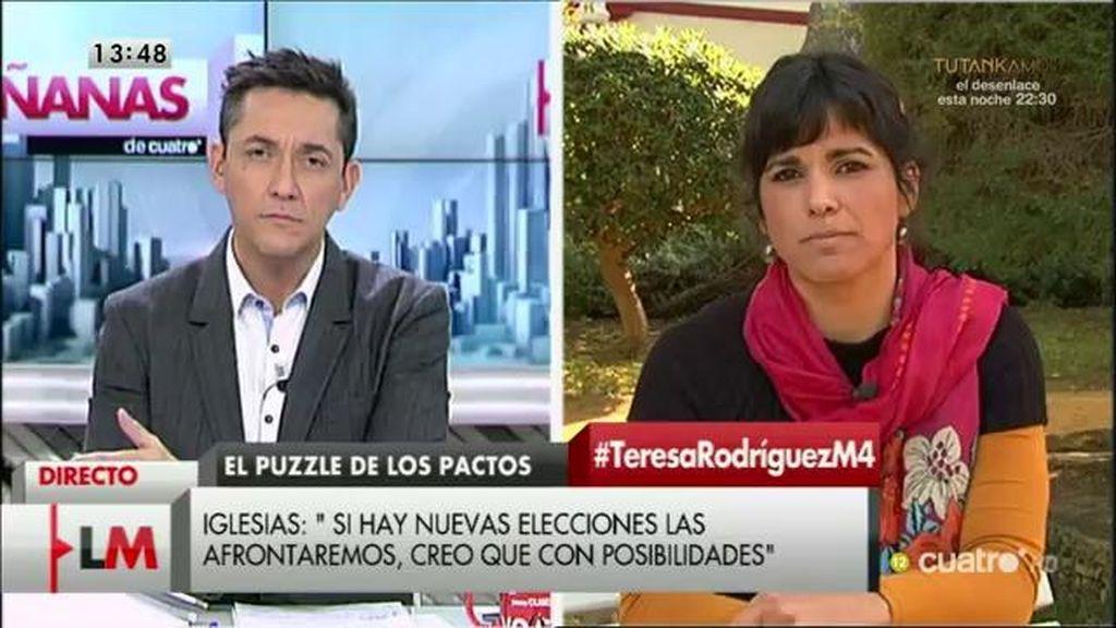 """T. Rodríguez: """"La gente nos ha votado para mejorar sus vidas, no para estar jugando con los sillones"""""""