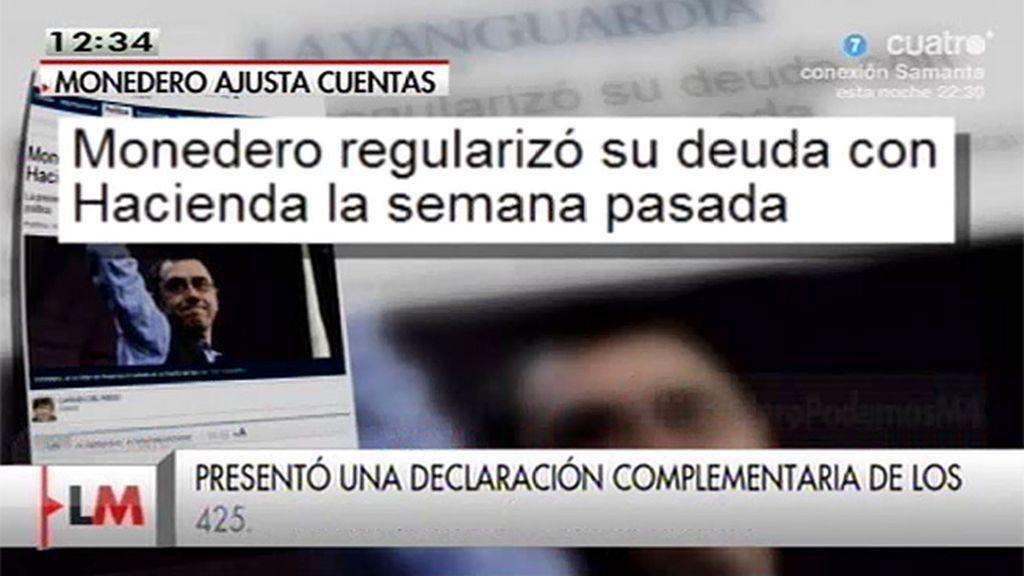 Juan Carlos Monedero presenta a Hacienda una declaración complementaria