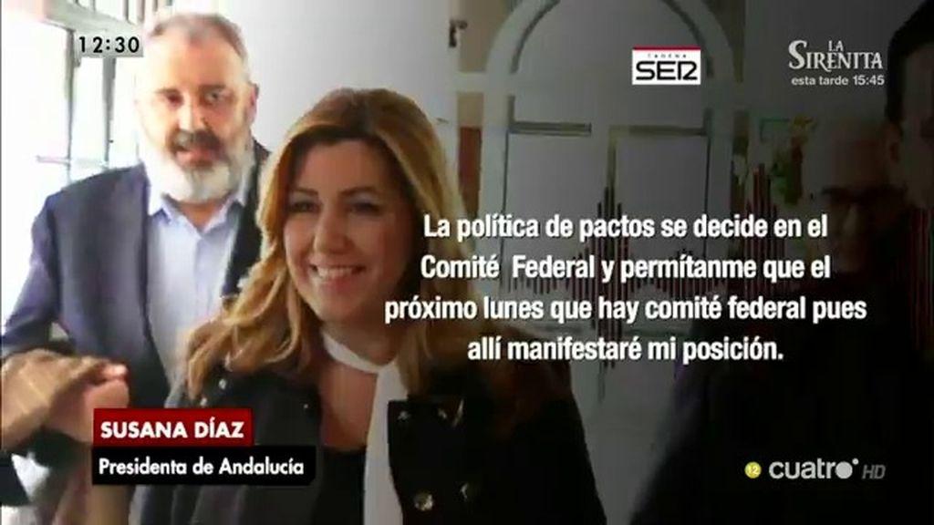 """Susana Díaz le recuerda a Pedro Sánchez que los pactos """"se deciden en Comité Federal"""""""