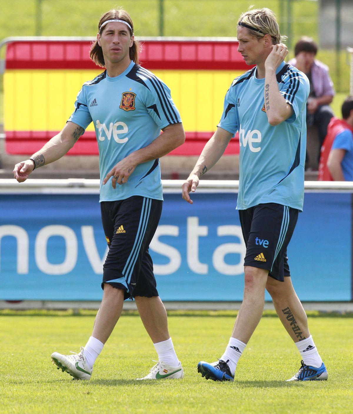 Torres y Ramos durante un entrenamiento de España