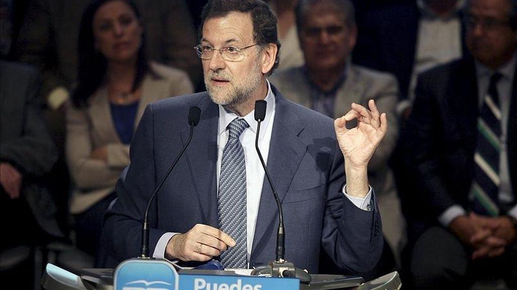 El presidente del Partido Popular (PP), Mariano Rajoy, durante su intervención en un acto con empresarios y trabajadores autónomos de Tenerife. EFE