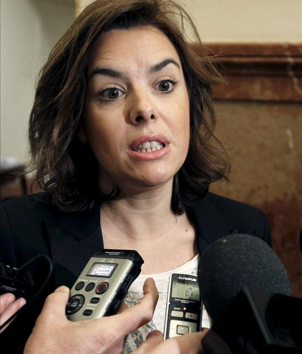 En la imagen, la portavoz del PP en la Cámara Baja, Soraya Sáenz de Santamaría. EFE/Archivo