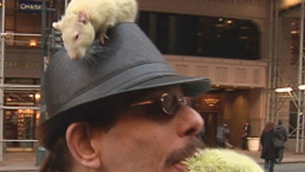 Hombre con ratas