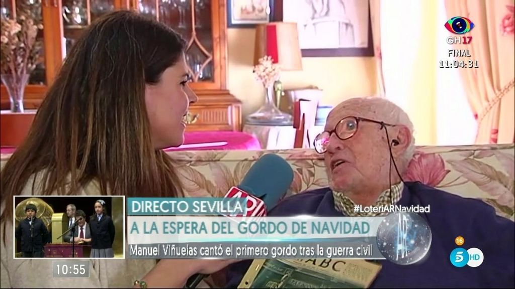 Manuel Viñuelas cantó el primer gordo después de la guerra civil