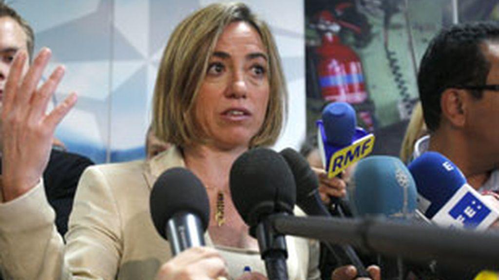Imagen de archivo de la ministra de Defensa y cabeza de lista del PSC por Barcelona en las generales, Carme Chacón. Foto: Gtres.