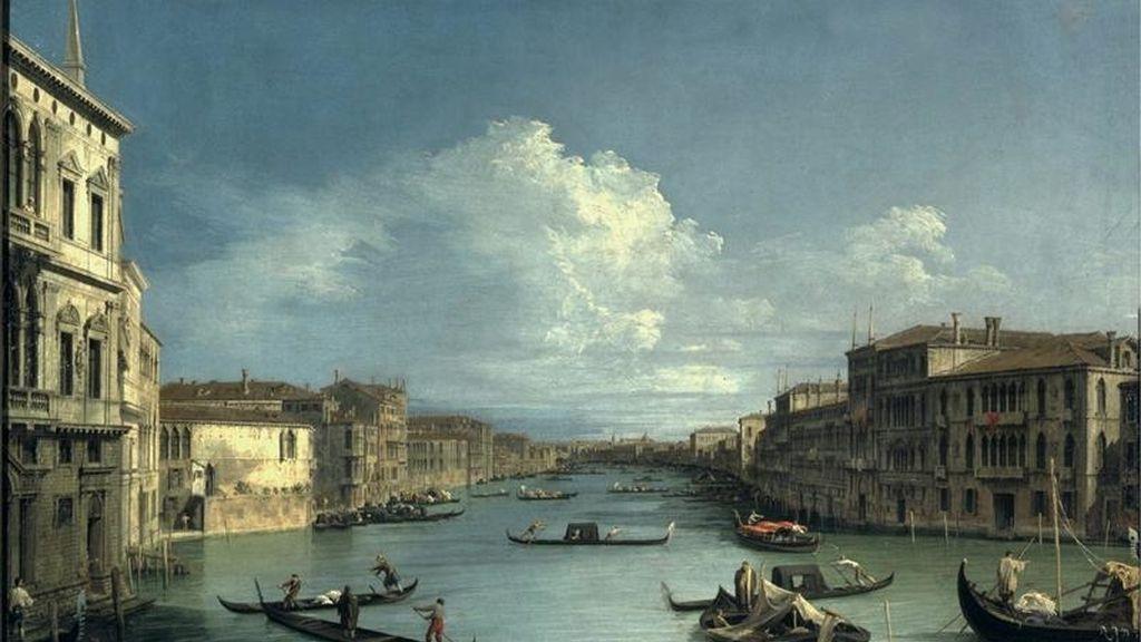 """Fotogafía facilitada por el museo Bozar de Bruselas de la pintura """"El Gran Canal"""", de Canaletto, que forma parte de la exposición """"Maestros venecianos y flamencos"""" que podrá verse en el Palacio de Bellas Artes de Bruselas (Bozar) desde mañana hasta el próximo 8 de mayo. EFE"""