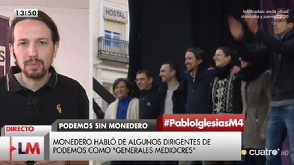 """P. Iglesias: """"Creo que necesitamos críticos leales y Juan Carlos Monedero lo va a ser"""""""