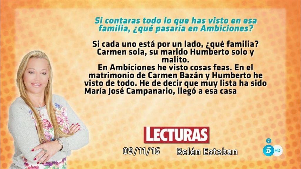 Belén Esteban se despacha a gusto contra Carmen Bazán en 'Lecturas'
