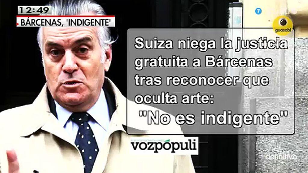 Luis Bárcenas se declara 'indigente' para no pagar las tasas judiciales en Suiza, según publica 'Vozpópuli'