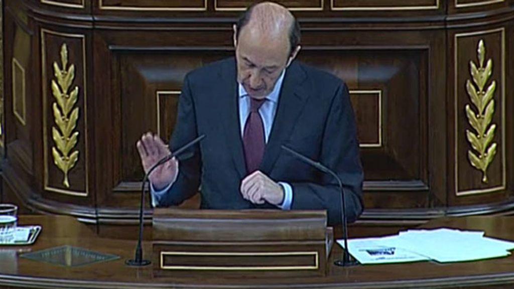 Alfredo Pérez Rubalcaba en el Debate del Estado de la Nación