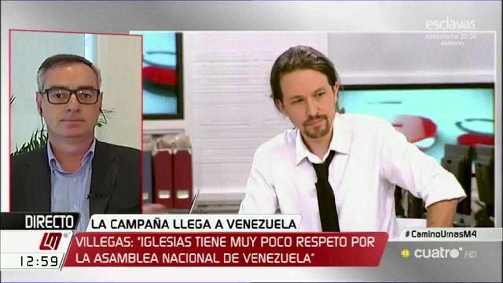 """J.M. Villegas: """"No es nada nuevo que Iglesias tenga poco respeto por las decisiones democráticas del pueblo de Venezuela"""""""