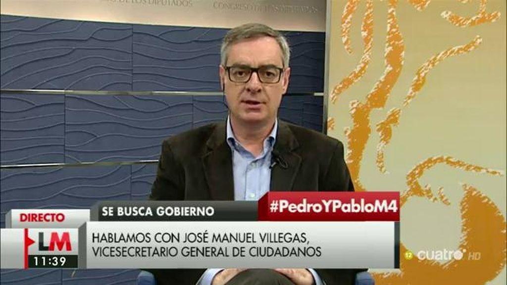 """J.M. Villegas: """"Las reformas que se pretenden en el pacto será imposible alcanzarlas si no llegamos a algún tipo de acuerdo con el PP"""""""