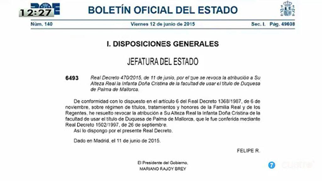 Revocado el Ducado de Palma de la Infanta Cristina