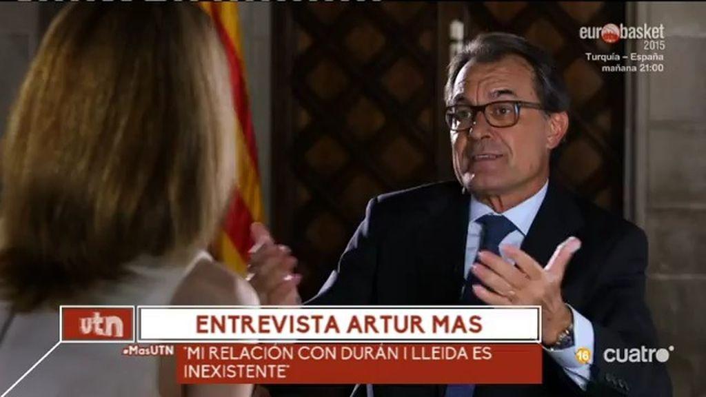 """Artur Mas: """"Mi relación actual con Durán i Lleida es inexistente"""""""