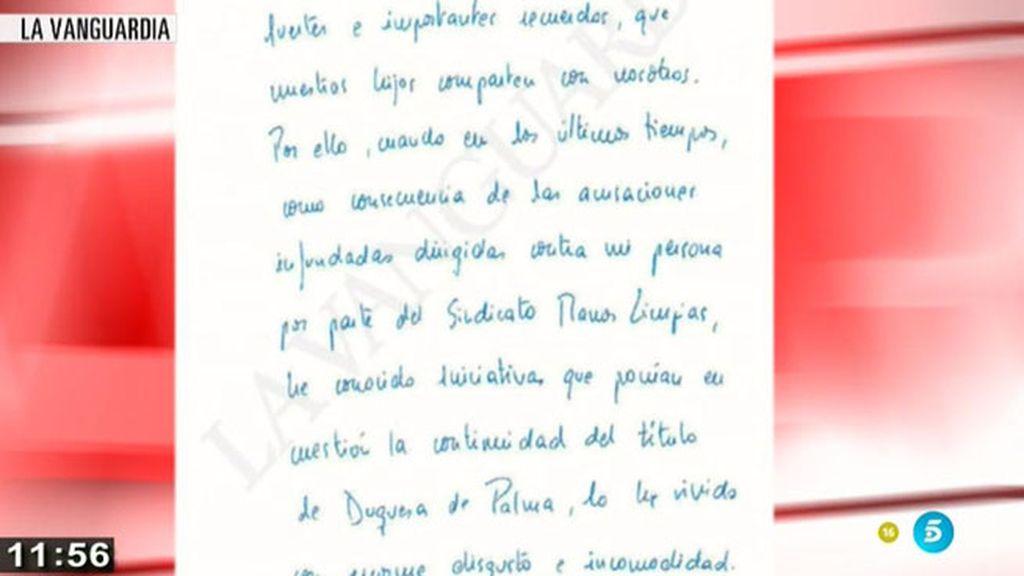 La carta con la que la Infanta Cristina renuncia al Ducado de Palma