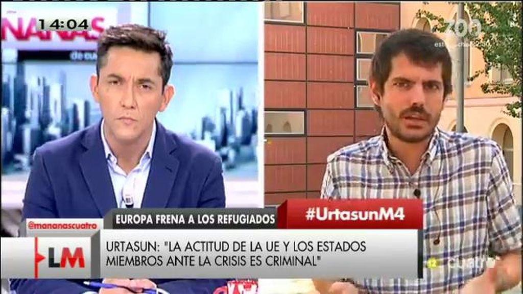 """Ernest Urtasun cree que la actitud de la UE ante la crisis de los refugiados es """"criminal"""""""