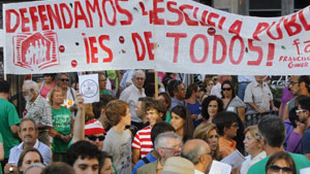 Cientos de profesores se manifestaron el pasado 14 de septiembre en Madrid FOTO: EFE
