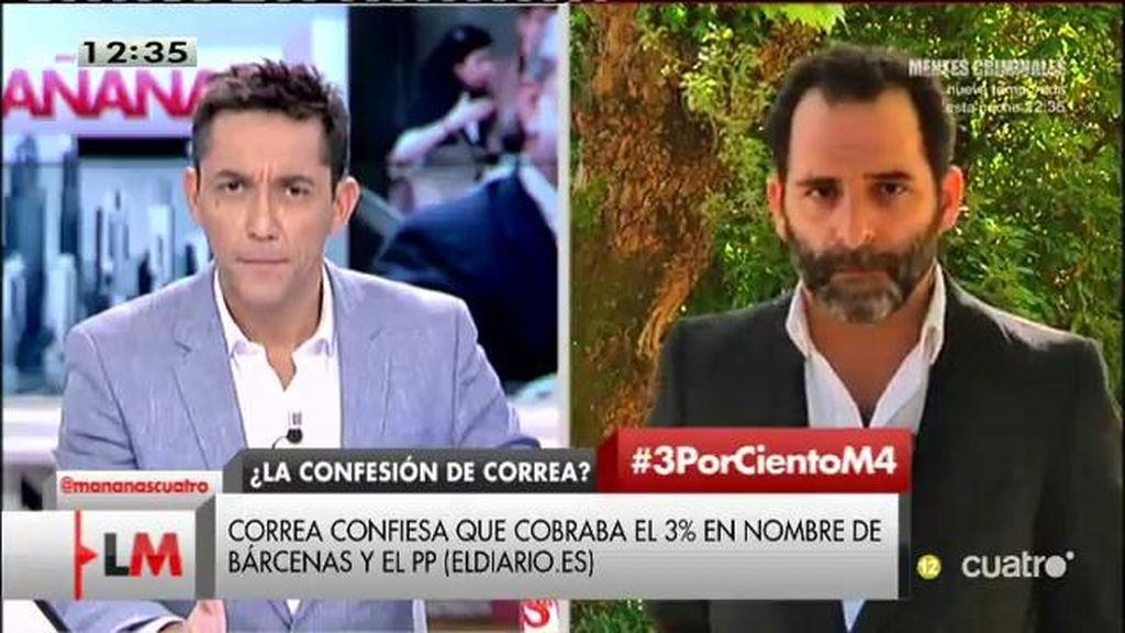 """G. Cortizo, jefe de polítcia de 'Eldiario.es': """"Correa reconoce unos delitos por los que no está siendo perseguido, ese 3%"""""""