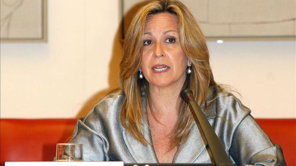 La ministra de Asuntos Exteriores, Trinidad Jiménez, duante su comparecencia esta tarde en la Comisión de Asuntos Exteriores del Congreso para informar de la política exterior con los países del Mediterráneo. EFE