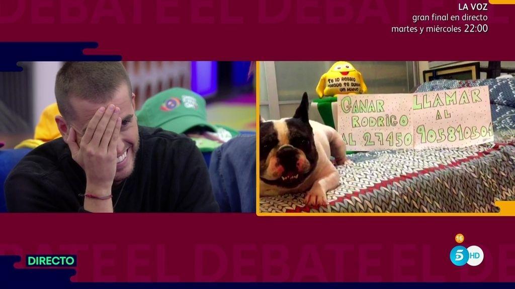 Rodri, emocionado al ver a su perro 'parlanchín' y a su padre apoyándole