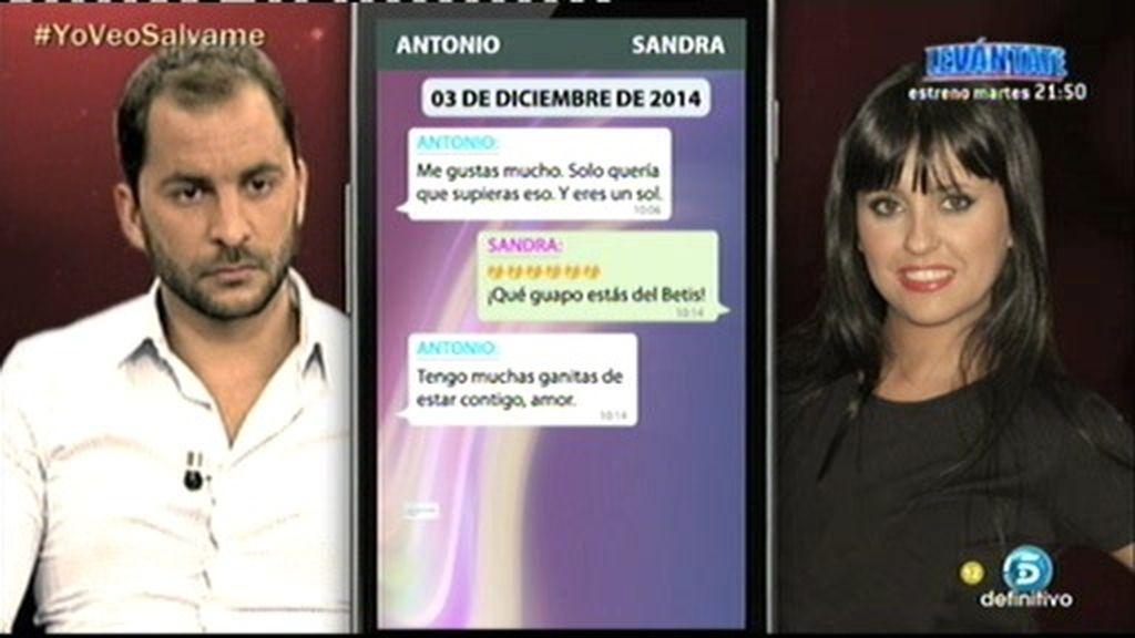 """Antonio Tejado, a Sandra: """"Tengo muchas ganitas de estar contigo, amor"""""""