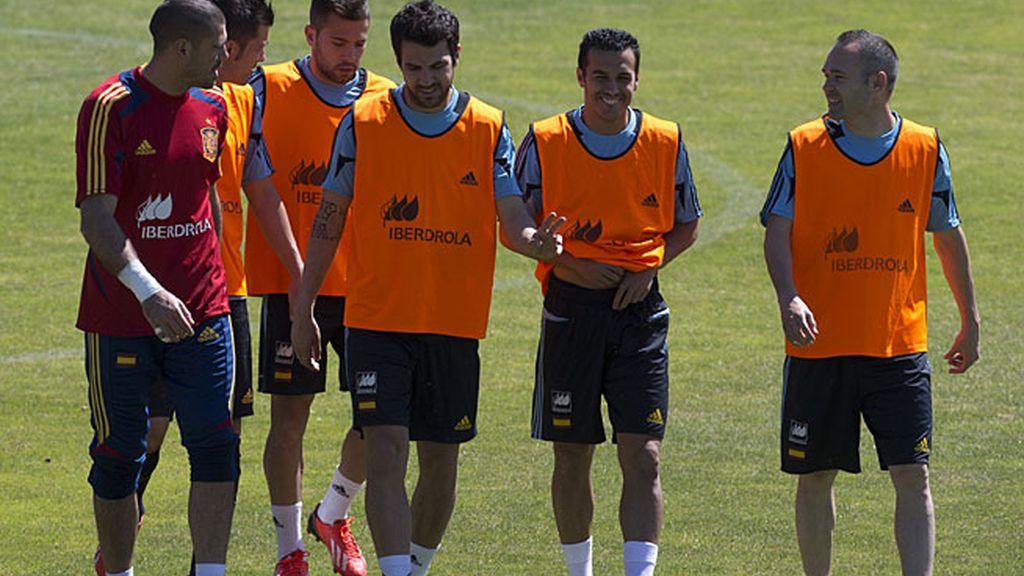 Los jugadores en la primera sesión