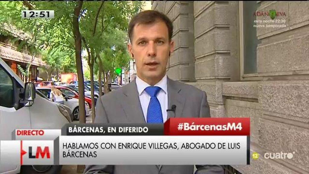 """E. Villegas, abogado de Bárcenas: """"Está con fuerzas para defender sus derechos"""""""